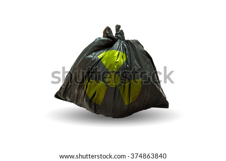 Garbage bags with nuclear symbol on white background - stock photo