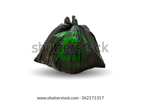 Garbage bags with  recycle symbol on white background