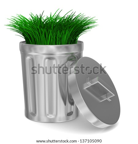 Garbage basket and grass on white background. Isolated 3D image - stock photo