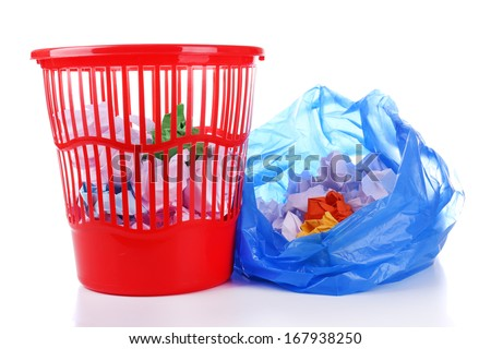 Garbage bin and  plastic trash bag, isolated on white - stock photo