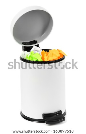 Garbage bin, isolated on white - stock photo
