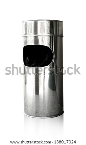 Garbage bin of steel stainless on white background, Cliping path - stock photo