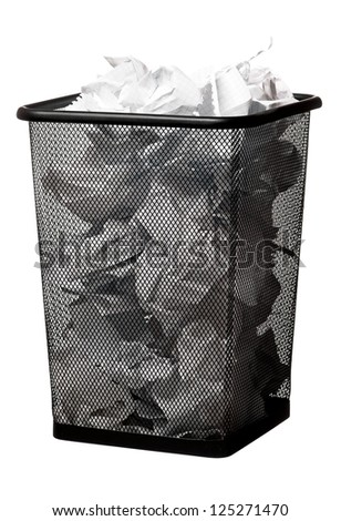 Garbage bin with paper waste, isolated on white background - stock photo