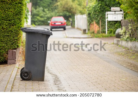 Garbage can symbolizing recycling in Germany - stock photo