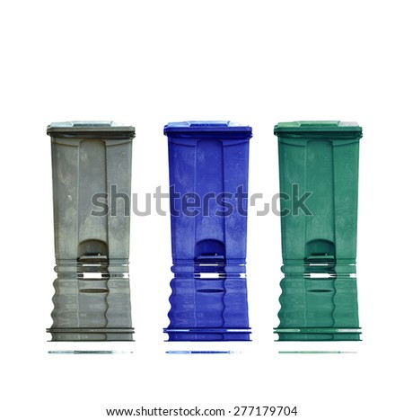 Garbage can with reflect on white background - stock photo