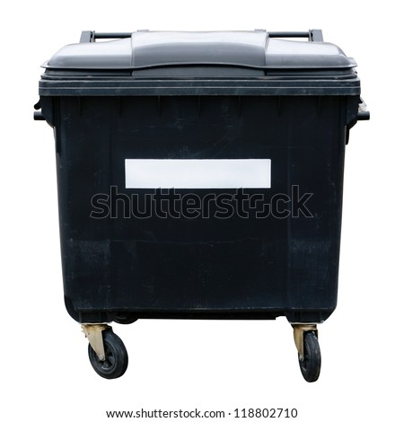 Garbage container. Gray four wheeled trash can isolated on white background - stock photo