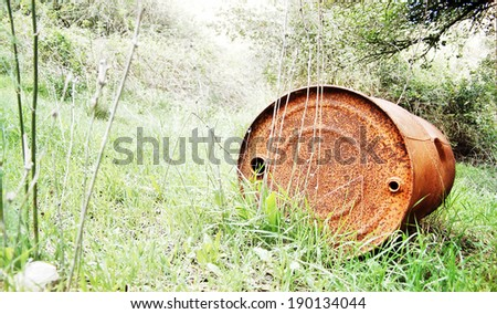 garbage in forest - pollution illustration  - stock photo