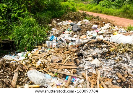 garbage in landfill - stock photo
