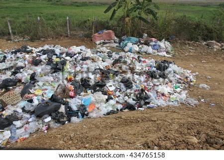 garbage in landfill - stock photo