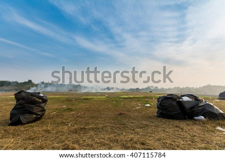 Garbage in the streets. after a street food market - stock photo