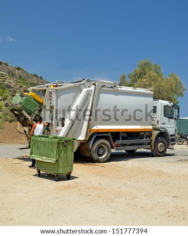 garbage municipality car - stock photo