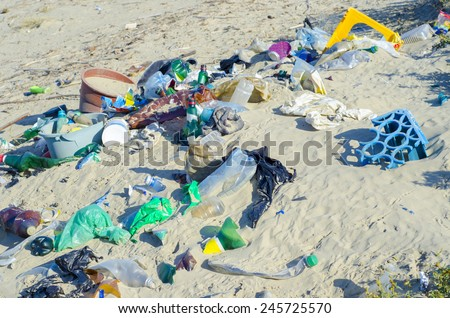 Garbage on the beach - stock photo