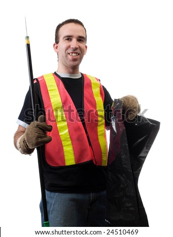 Garbage picker is cleaning up the streets with a poking stick and a bag, isolated against a white background - stock photo