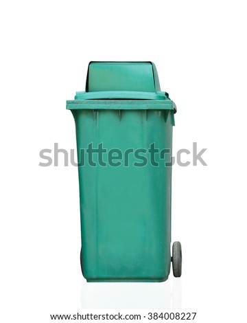 garbage plastic bins isolated on white background. This has clipping path.