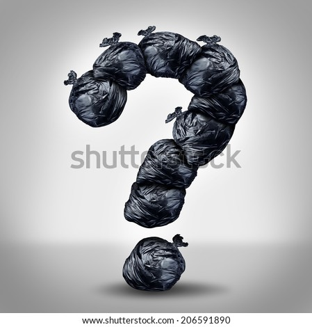 Garbage questions with a group of trash bags shaped as a question mark as a symbol of waste management and environmental issues as plastic sacks full of dirty smelly trash and useless junk. - stock photo