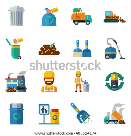Garbage recycling flat color icons set of dump truck garbage can processing plant isolated  illustration