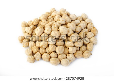 garbanzo beans on white background - stock photo