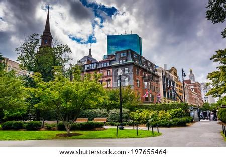 Garden and buildings in Boston, Massachusetts. - stock photo