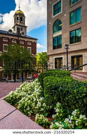 Garden and Faneuil Hall in Boston, Massachusetts. - stock photo