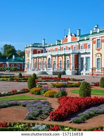 Garden and Kadriorg Palace in Tallinn, outdoor shot - stock photo