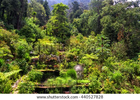 Garden at the base of Monserrate Mountain in Bogota, Colombia - stock photo