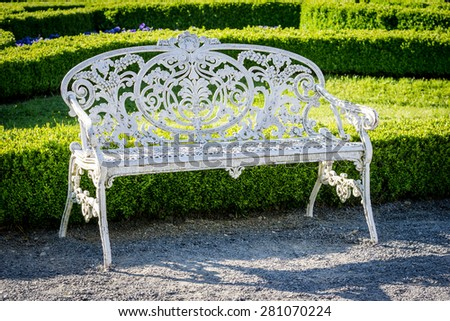 garden bench on a green background
