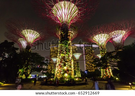 garden by the bay singapore april 12 2014 blinking lights around the