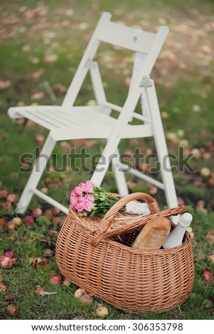 Garden chairs and picnic basket on green grass. Toned image. - stock photo