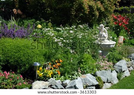 Garden & Cherub Fountain - stock photo