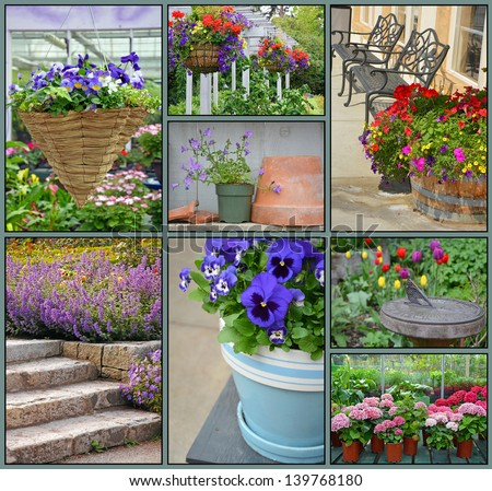 Garden collage of assorted colorful spring flowers - stock photo