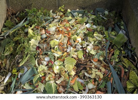Garden compost heap with kitchen food waste, vegetables, fruit peel and green refuse. - stock photo