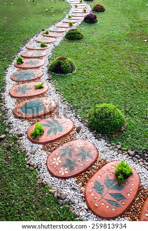 Garden decorations in the park. - stock photo
