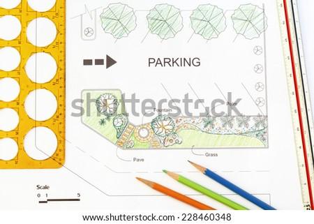 Garden design for parking lot - stock photo