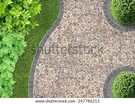 garden detail in aerial view with chaff path