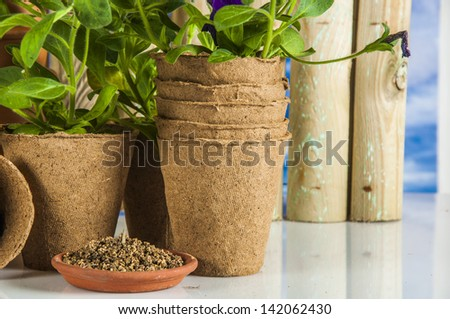 Garden equipment with spring climate - stock photo