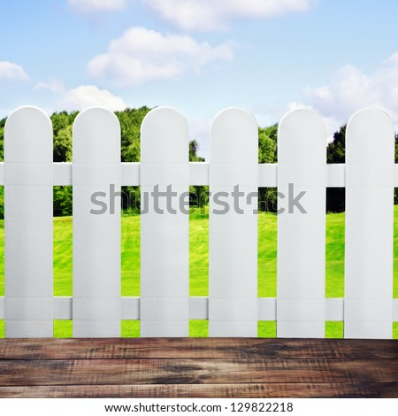 garden fences and wooden floor in a landscape - stock photo