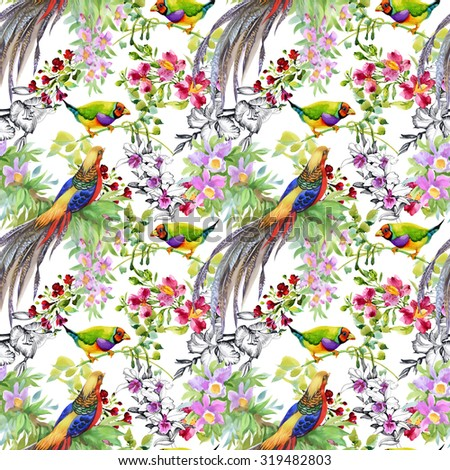 Garden flowers and pheasant birds watercolor seamless pattern on white background