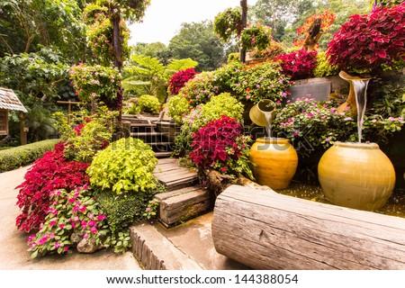 Garden flowers , mae fah luang garden - stock photo