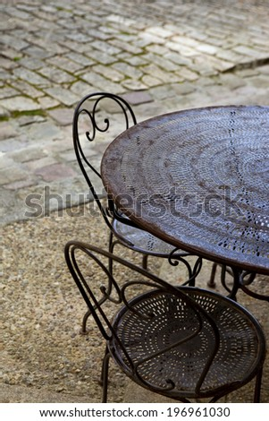 Garden furniture on a terrace