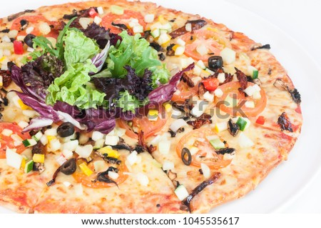 Garden Greens Pizza top with fresh mesclun mix