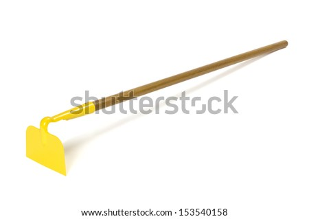 Garden hoe with shadow isolated on white. Clipping path included. - stock photo