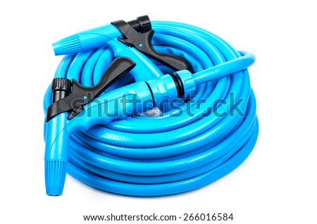 Garden hose with a sprayer. Microstock photography for over a white background
