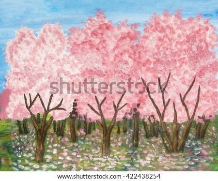 Garden iin blossom n spring in pink colours, oil painting with acryl. - stock photo