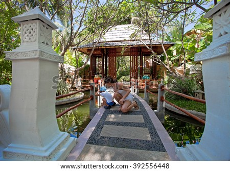 Garden in Maldive Island - stock photo
