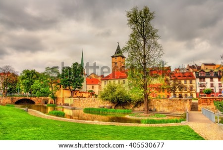 Garden in the historic centre of Pilsen - Czech Republic