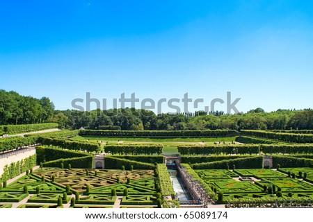 Garden in Villandry, France - stock photo