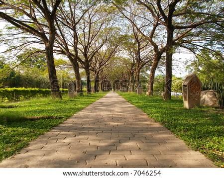 Garden Infinity Walkway Path - stock photo