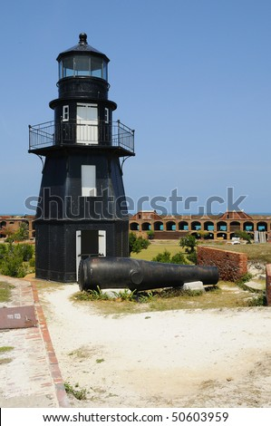 Garden Key Lighthouse at Dry Tortugas National Park - stock photo
