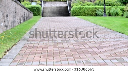 Garden landscape and walking path