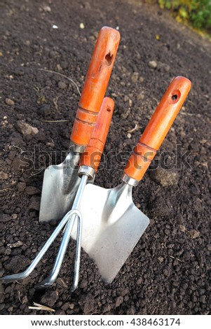Garden major and minor hand trowels and a flower rake in the loosen soil in the garden - stock photo